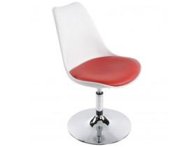 Chaise moderne pivotante 'QUEEN' réglable blanche et rouge
