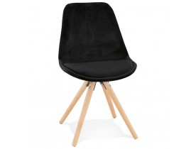 Chaise vintage 'RICKY' en velours noir et pieds en bois naturel