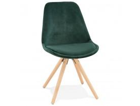 Chaise vintage 'RICKY' en velours vert et pieds en bois naturel