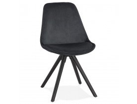 Chaise vintage 'RICKY' en velours noir et pieds en bois noir