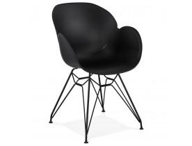 Chaise design 'SATELIT' noire style industriel avec pieds en métal noir