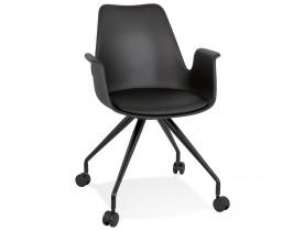 Chaise de bureau avec accoudoirs 'SPLIT' noire sur roulettes
