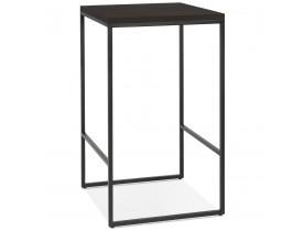 Table haute design 'STRAMOS' finition Wengé avec structure noire vouée aux pro de la restauration