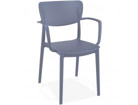 Chaise perforée avec accoudoirs 'TORINA' en matière plastique grise foncée