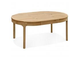 Table de salle à manger ronde extensible 'VINUS' en Chêne massif - Ø 120(180)x120 cm