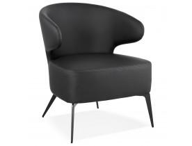 Fauteuil lounge design 'WAGYU' noir et pieds en métal noir