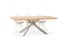 Table à manger 'WALABY' en bois finition naturelle avec pied central en métal - 200x100 cm