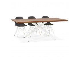 Table à diner 'WALABY' en bois finition Noyer avec pied central en x blanc - 200x100 cm