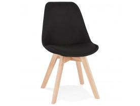 Chaise scandinave 'WILLY' en tissu noir avec pieds en bois finition naturelle