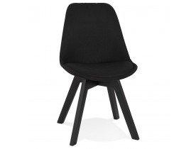 Chaise design 'WILLY' en tissu et bois noir