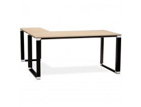 Bureau d'angle XLINE en bois finition naturelle et métal noir - Alterego