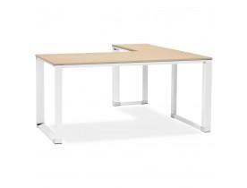 Bureau d'angle design 'XLINE' en bois finition naturelle et métal blanc (angle au choix)