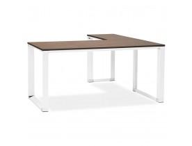 Bureau d'angle design 'XLINE' en bois finition Noyer et métal blanc (angle au choix)