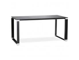 Petit bureau droit design 'XLINE' en verre noir - 140x70 cm