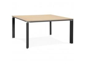 Table de réunion / bureau bench 'XLINE SQUARE' en bois finition naturelle et métal noir - 140x140 cm