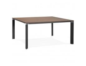 Table de réunion / bureau bench 'XLINE SQUARE' en bois finition Noyer et métal noir - 160x160 cm