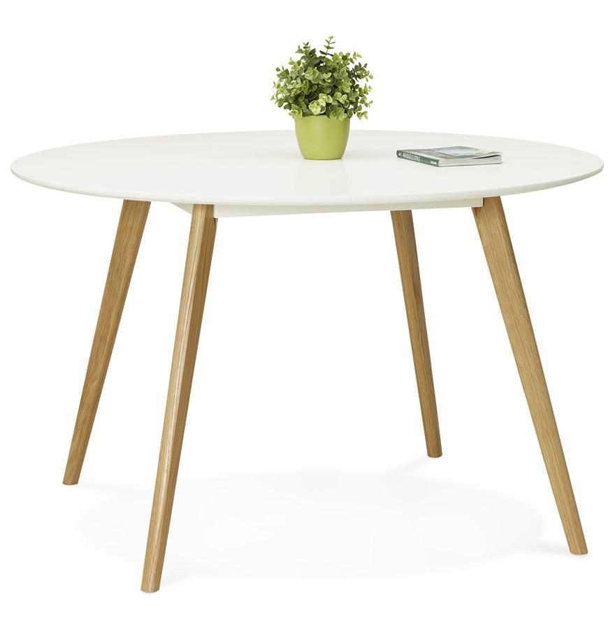 Table de cuisine ronde amy blanche style scandinave for Table de cuisine blanche
