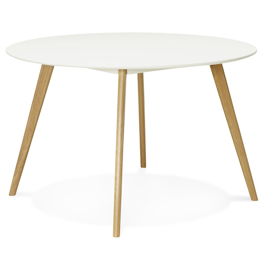 table de cuisine ronde amy blanche style scandinave. Black Bedroom Furniture Sets. Home Design Ideas