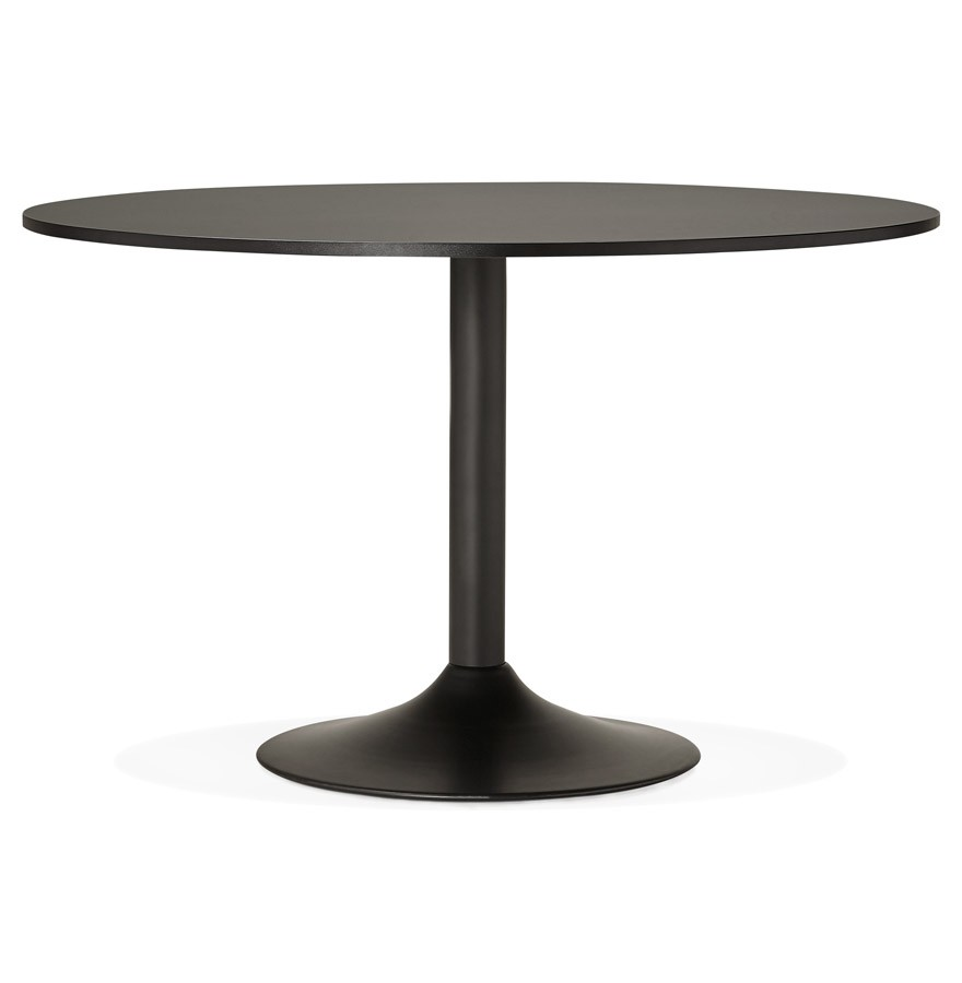 Table de bureau ronde noire atlanta 120 cm table diner for Table de bureau blanche