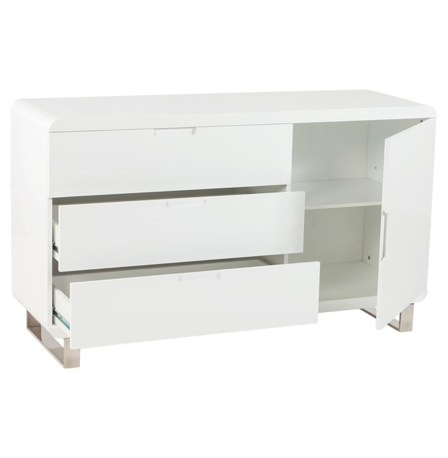 Meuble de rangement bahu bahut design blanc en bois for Meuble blanc pour chambre