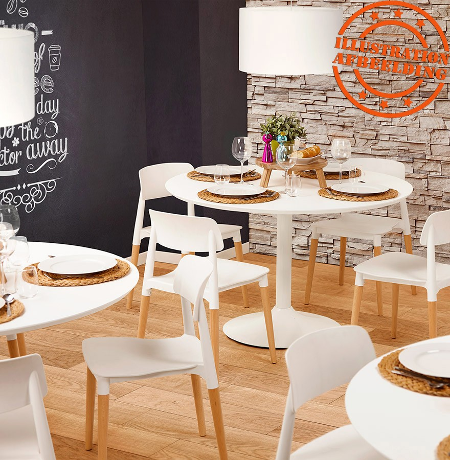 table diner ronde barabar en bois blanc table de bureau. Black Bedroom Furniture Sets. Home Design Ideas