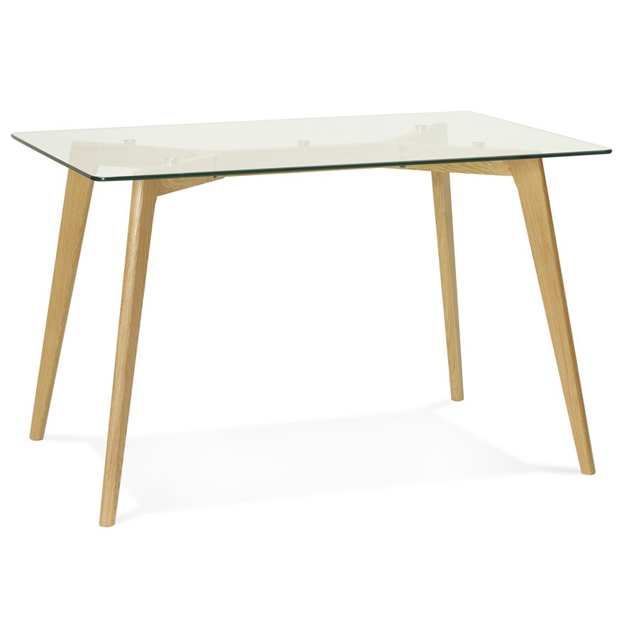Bureau droit bugy en verre petite table design 120x80 cm for Table bureau design