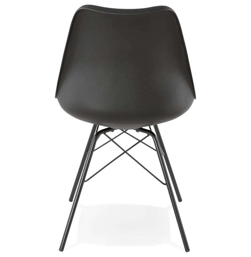 Chaise design byblos noire style industriel for Chaise design industriel
