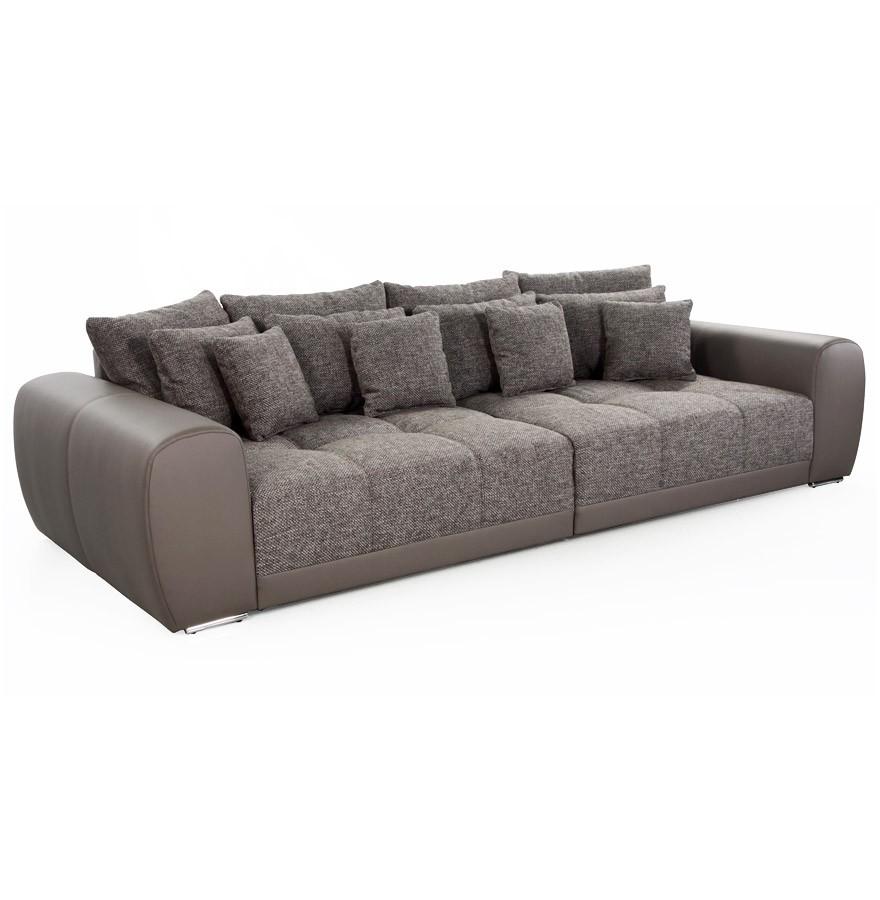 Grand canap droit byouty 4 places taupe en similicuir et tissu - Pied de canape design ...