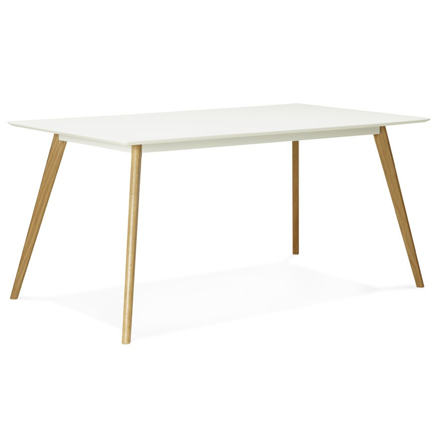 Table de cuisine rectangulaire candy blanche bureau droit for Table de bureau blanche