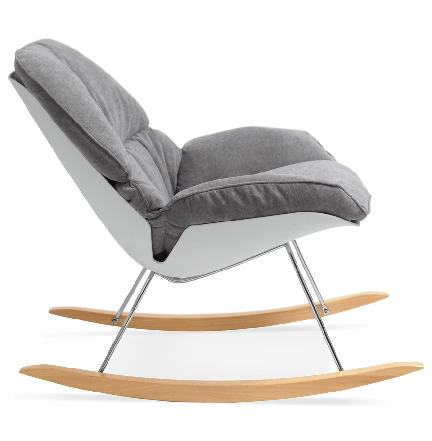 Fauteuil à Bascule Chily Gris En Tissu Rocking Chair Design