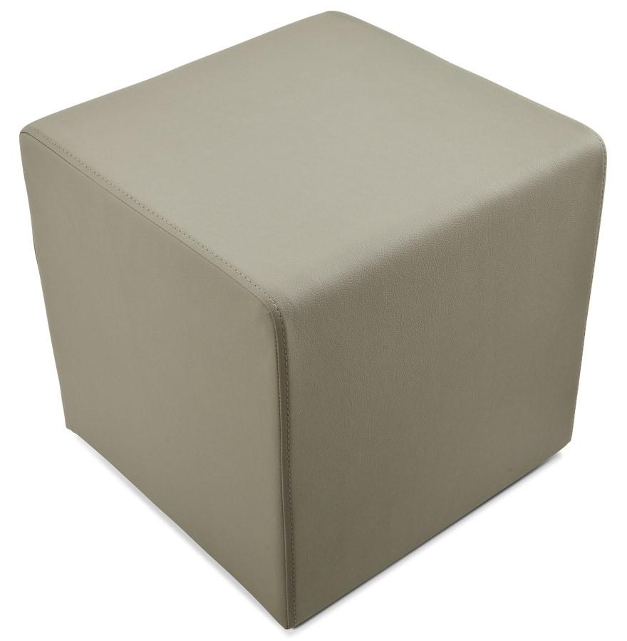 pouf cube de salon en similicuir gris pouf design. Black Bedroom Furniture Sets. Home Design Ideas