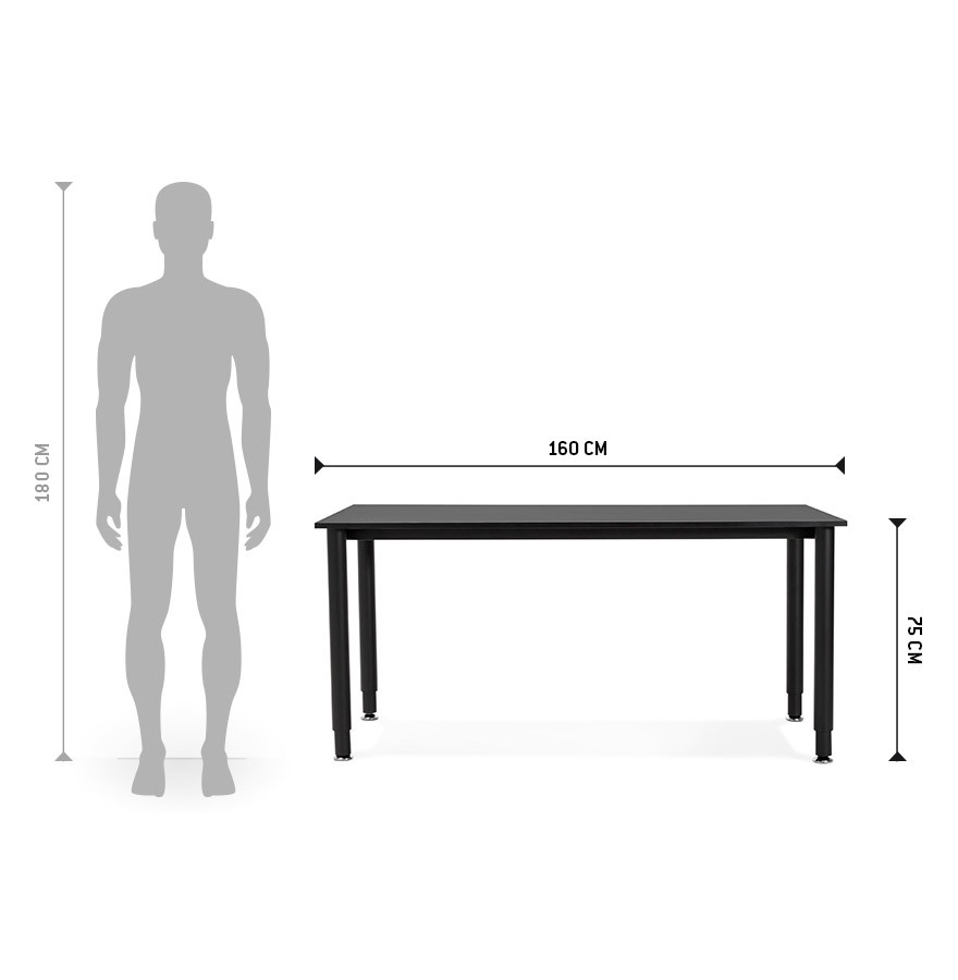 Bureau design focus noir table de r union 160x80 cm for Table de bureau design
