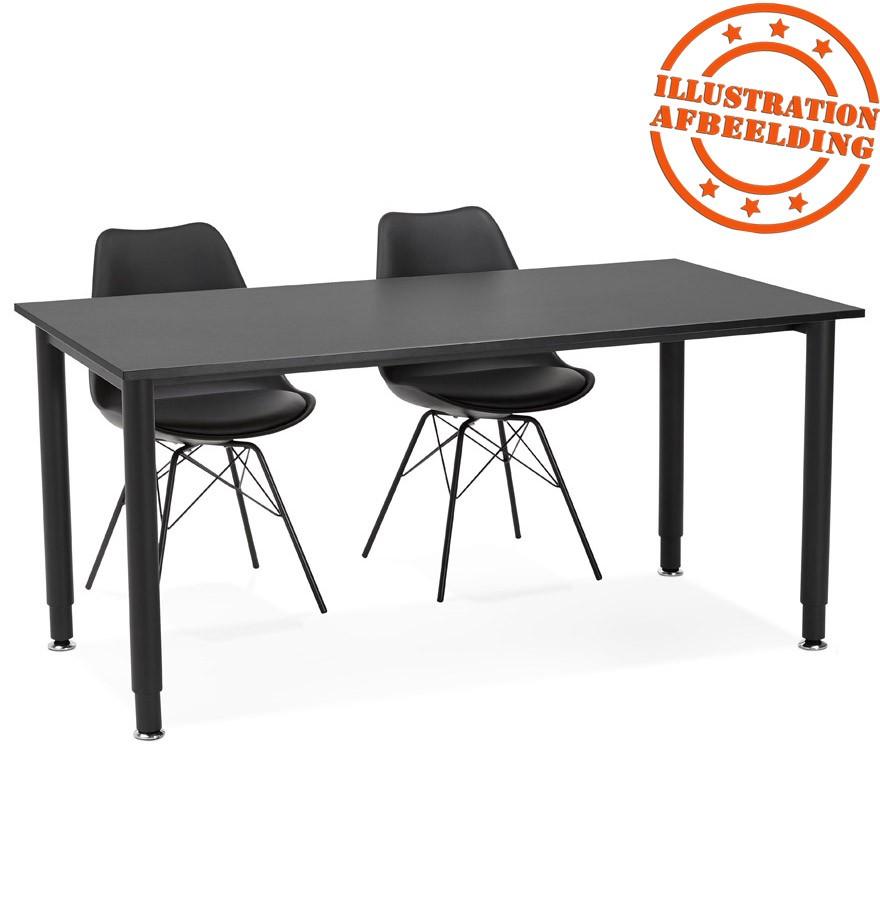 Bureau design focus noir table de r union 160x80 cm for Table bureau design