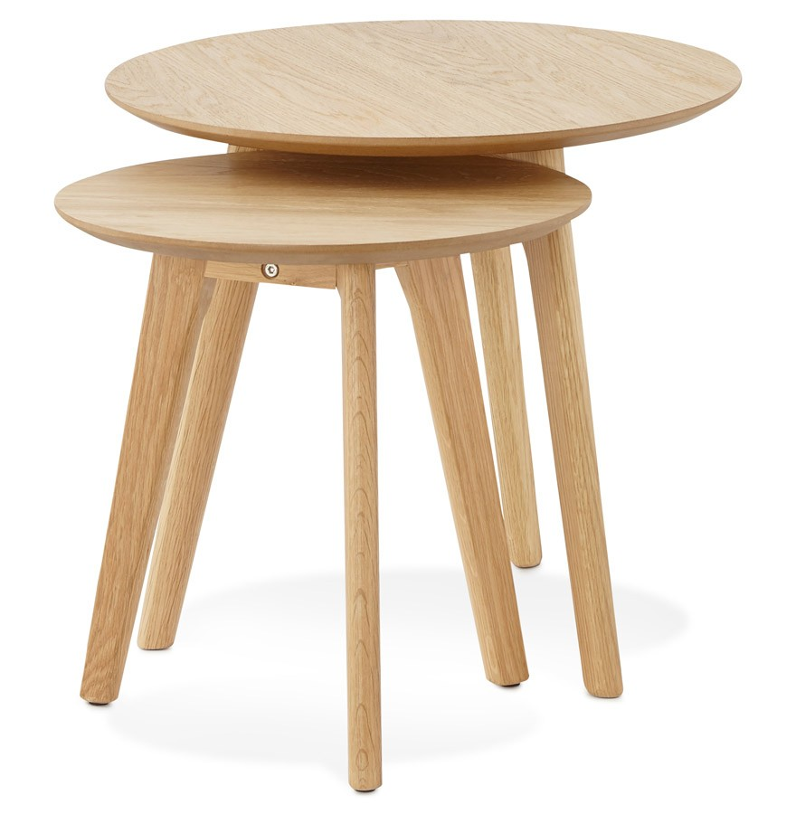 Tables gigognes ronde gaby en bois naturel table d 39 appoint for Table gigogne bois