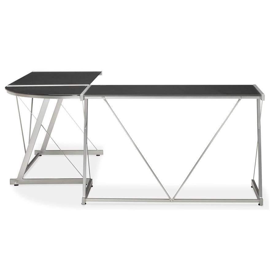 Grand bureau d 39 angle geek bureau design en verre noir - Bureau en verre noir ...