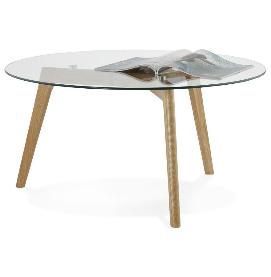 Table basse de salon ronde glazy en verre table design for Table salon ronde