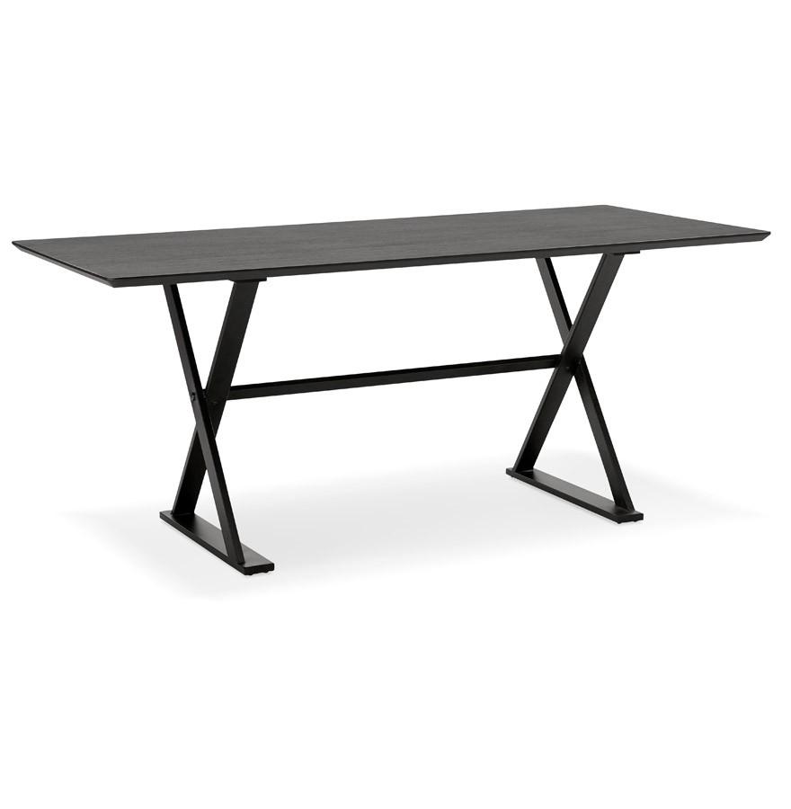 Table design havana en bois noir bureau moderne 180x90 cm for Table bureau noir