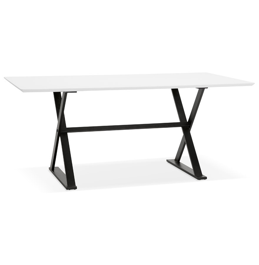 table avec pieds en croix havana blanche bureau design 180x90 cm. Black Bedroom Furniture Sets. Home Design Ideas