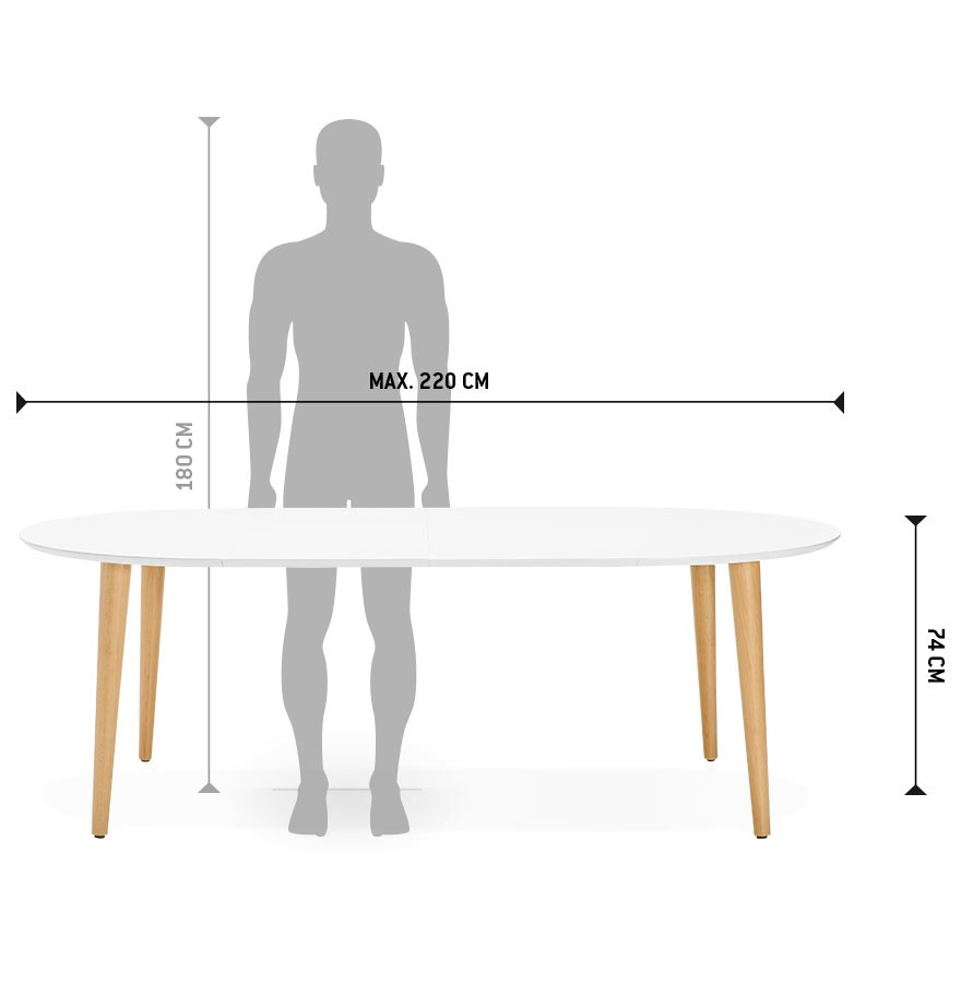 Table d ner ronde extensible iglou style scandinave for Table ronde 8 personnes dimensions