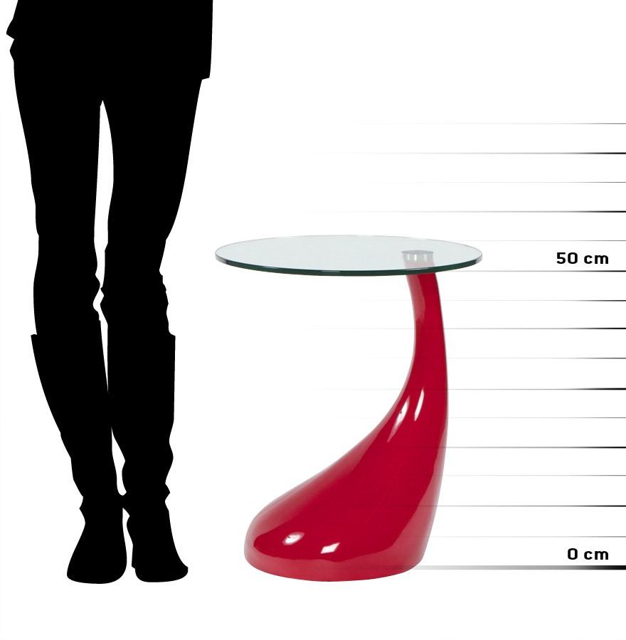 Koma En Verre Rouge Design Table D'appoint vNmw0O8n