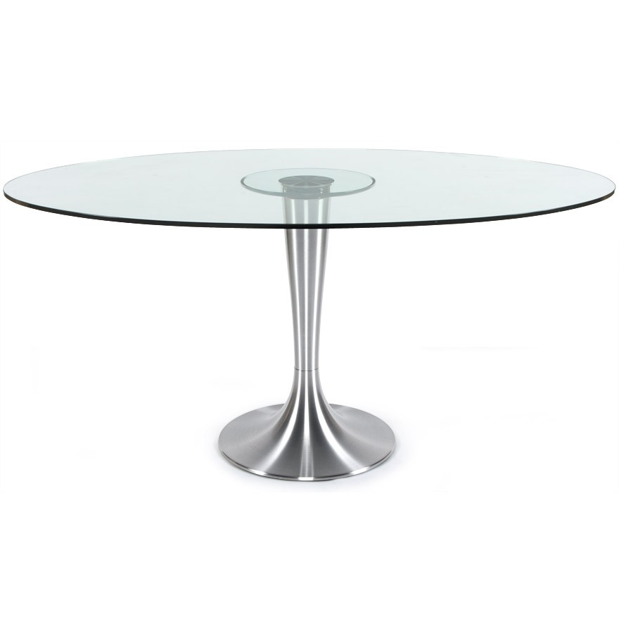 Table A Diner Krystal Ovale En Verre Table Design 160x108 Cm