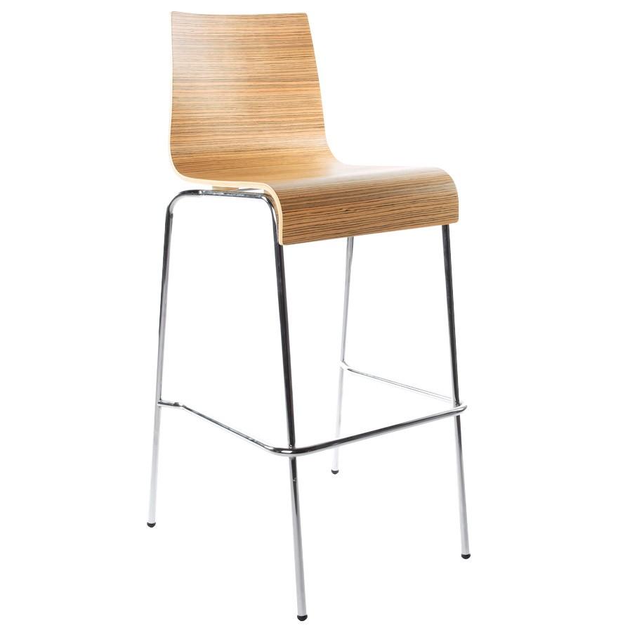 Tabouret haut kwatro bois finition zebrano sur 4 pieds tabouret design - Tabouret 3 pieds ikea ...