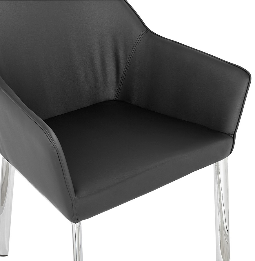 Chaise Avec Accoudoirs Moderne MANATAN Noire