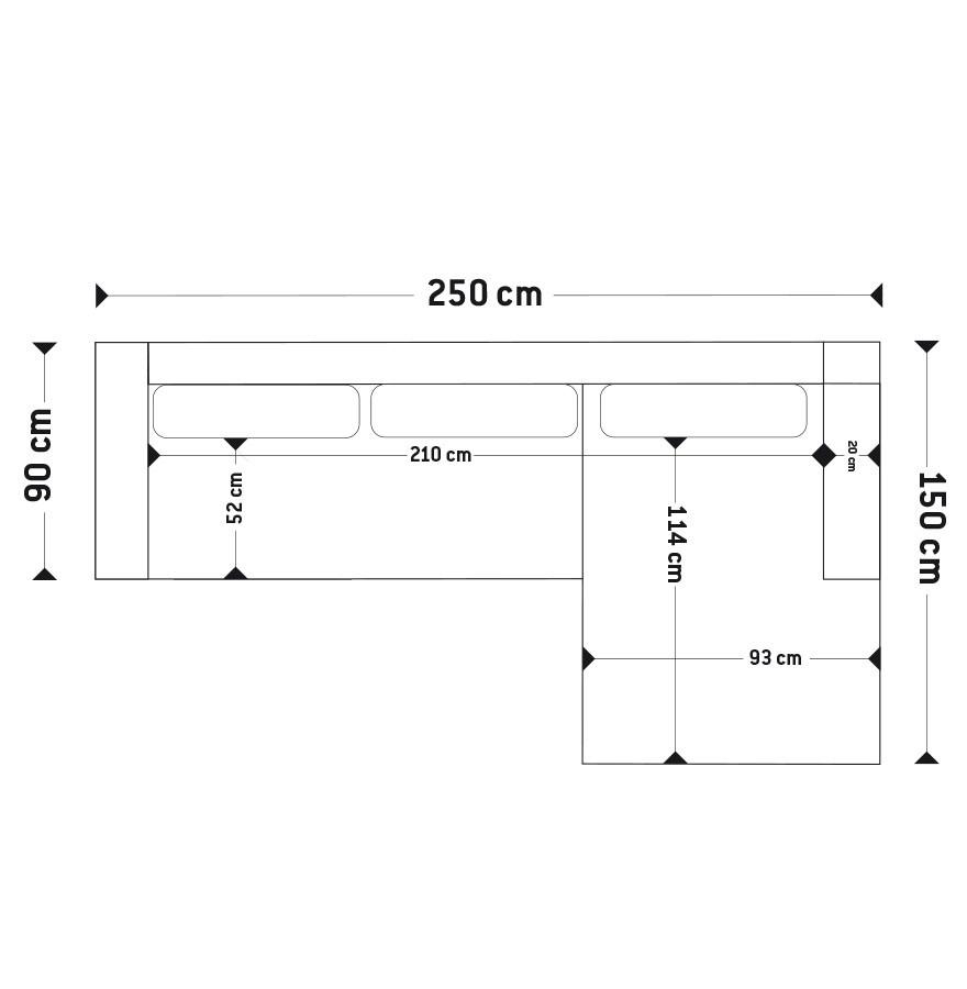Canap d 39 angle design melting noir avec m ridienne droite for Dimension canape avec meridienne