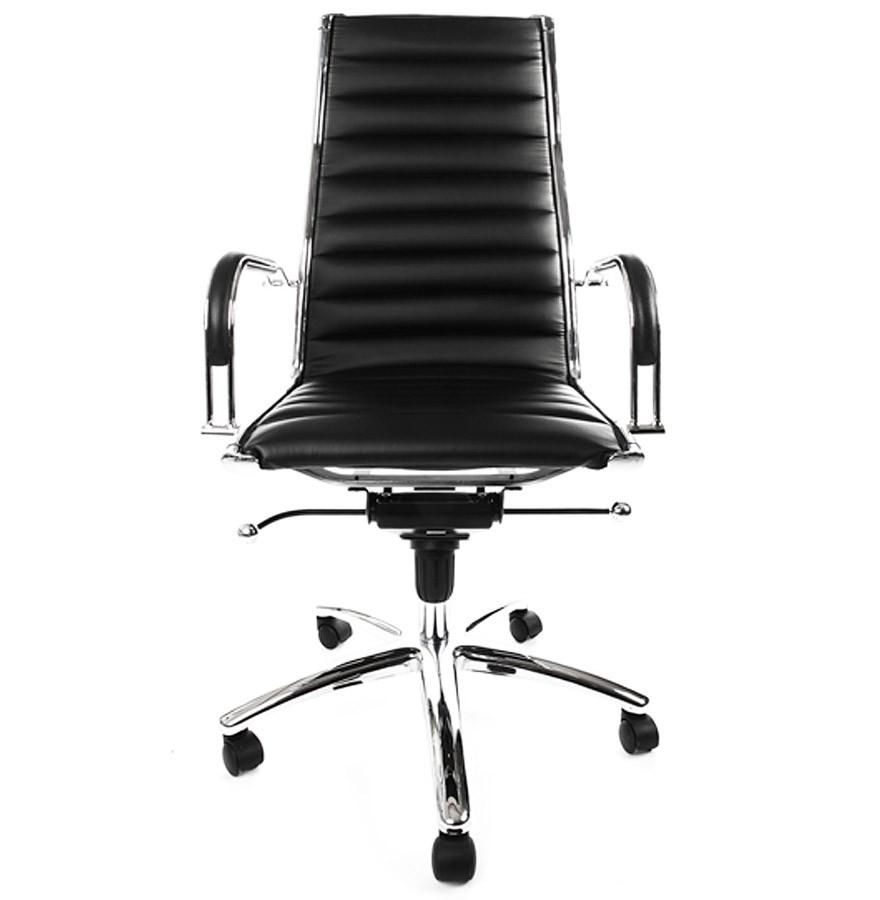 fauteuil de bureau design milan en simili cuir noir. Black Bedroom Furniture Sets. Home Design Ideas