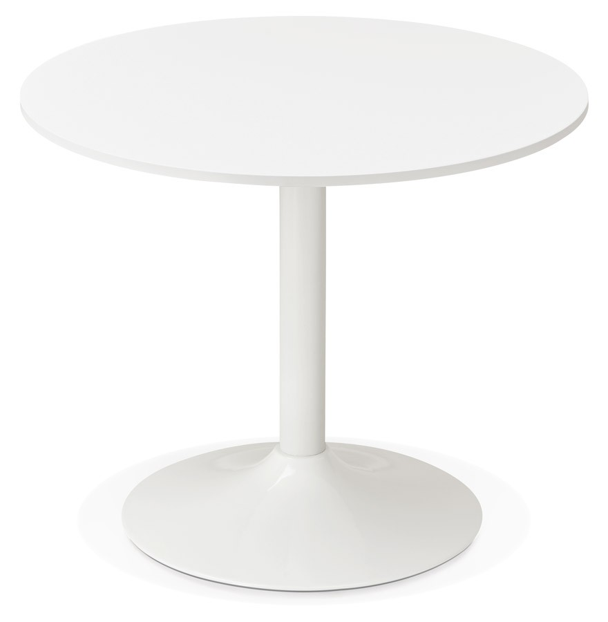 Table de bureau ronde blanche orlando 90 cm table diner for Bureau 90 cm de long