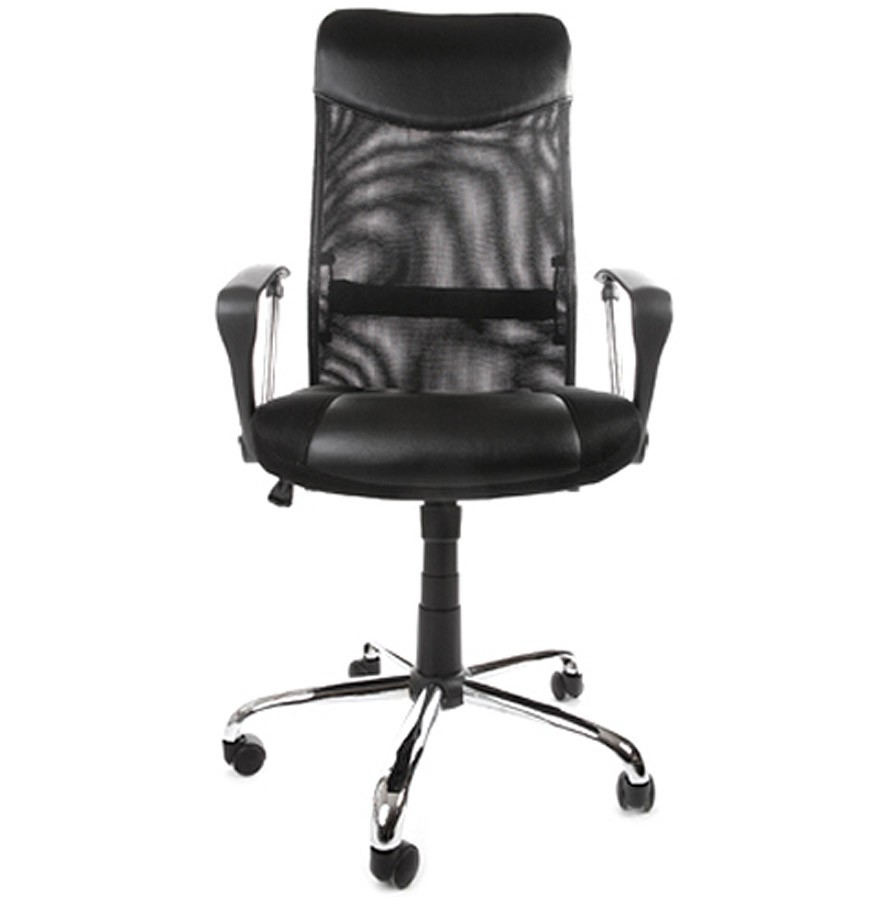 fauteuil de bureau moderne roma noir en similicuir et tissu. Black Bedroom Furniture Sets. Home Design Ideas