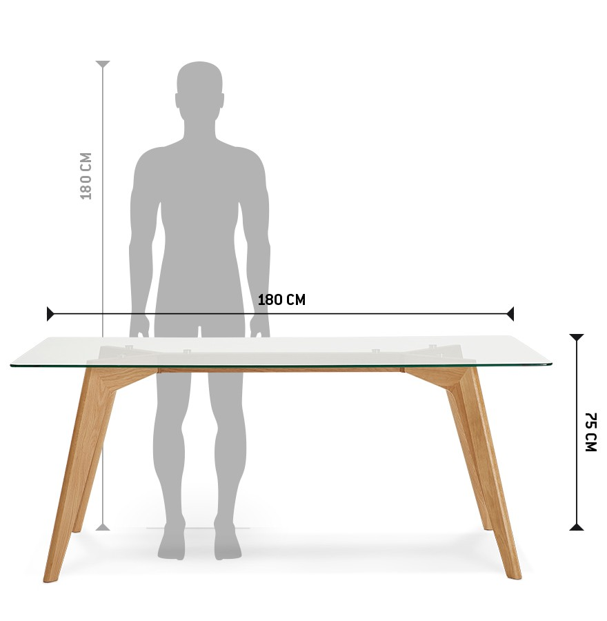 Table de salle manger design salto en verre 180x90 cm - Table en verre salle a manger ...