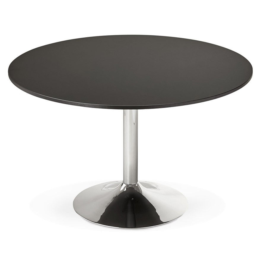 table de bureau ronde noire saopolo 120 cm table diner. Black Bedroom Furniture Sets. Home Design Ideas