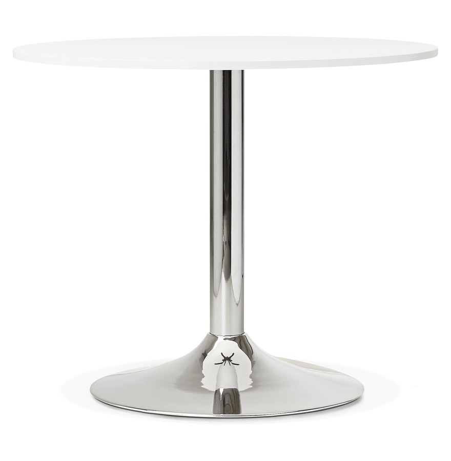 Table de bureau ronde blanche saopolo 90 cm table diner - Petite table ronde blanche ...